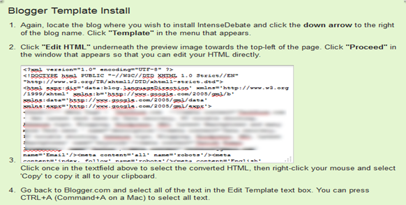 copy the modified blogger template code now