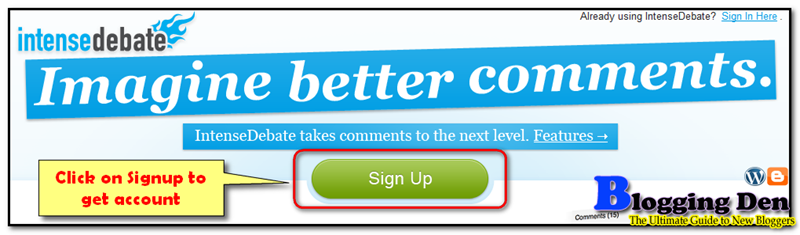 Use Intensedebate services to register to enable commentLuv plugin