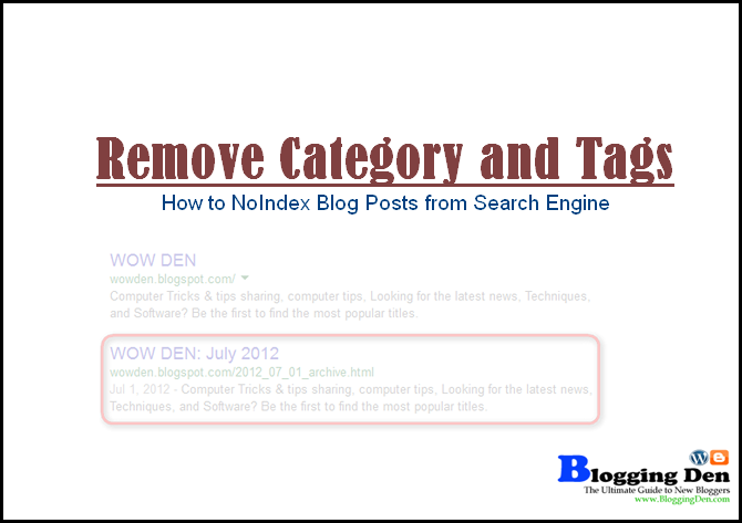 How to Remove Category and tags from Search Engine