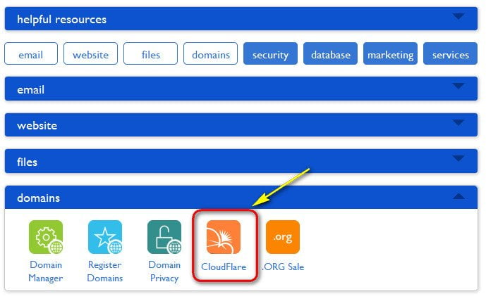 cloudflare icon in bluehost