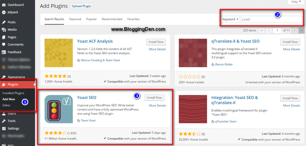 search yoast plugin from plugin directory and install plugin