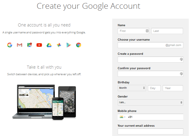 create gmail account and fill the form