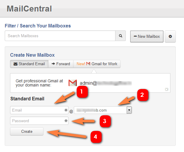 create new email with password