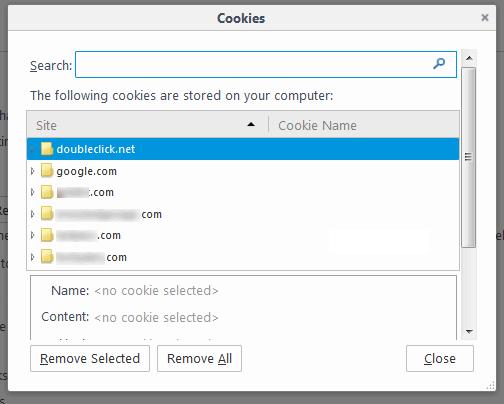 remove cookies in firefox