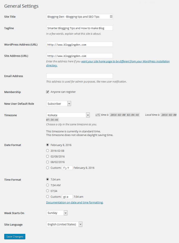 General settings in wordpress dashboard
