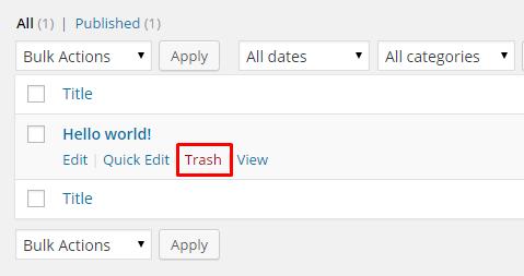 remove wordpress default post