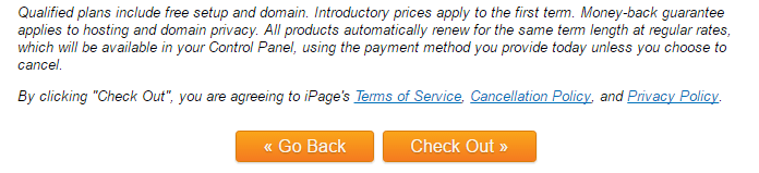 Check out option to complete iPage hosting information