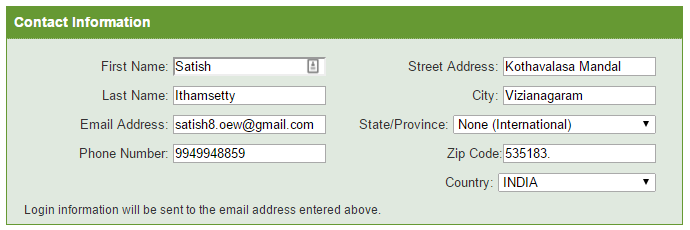 Provide Contact information in iPage hosting registration