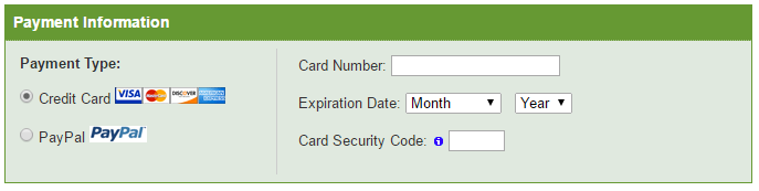 payment information for new iPage hosting registration