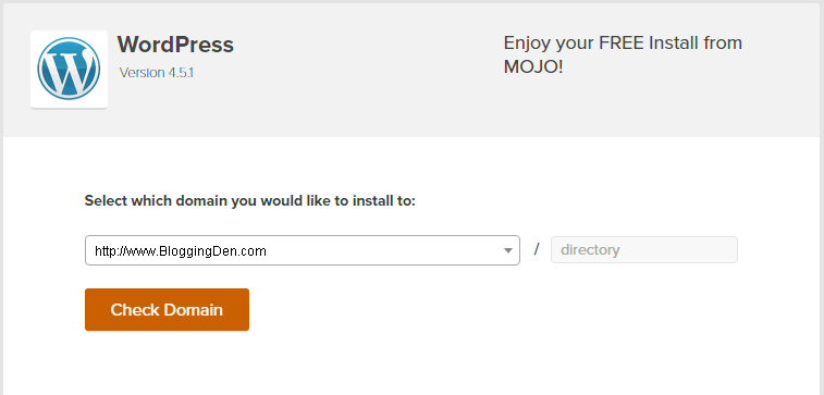 select domain to start WP Installation