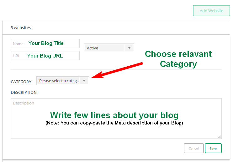 add your blog details