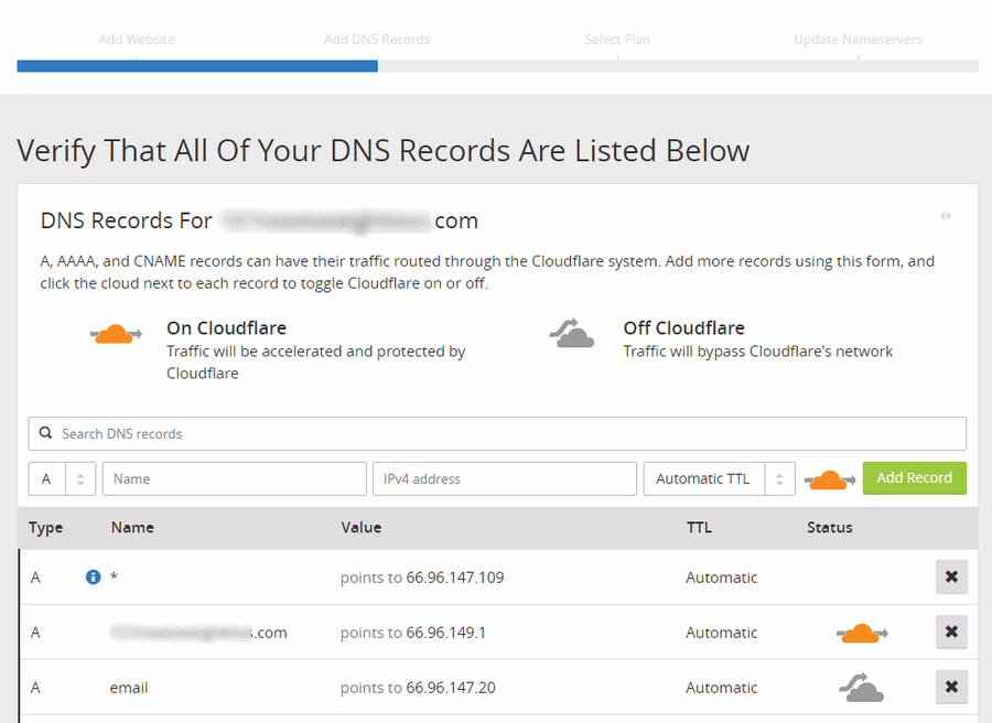 dns records in cloudflare
