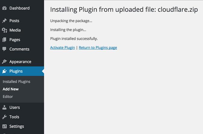 activate cloudflare wordpress plugin