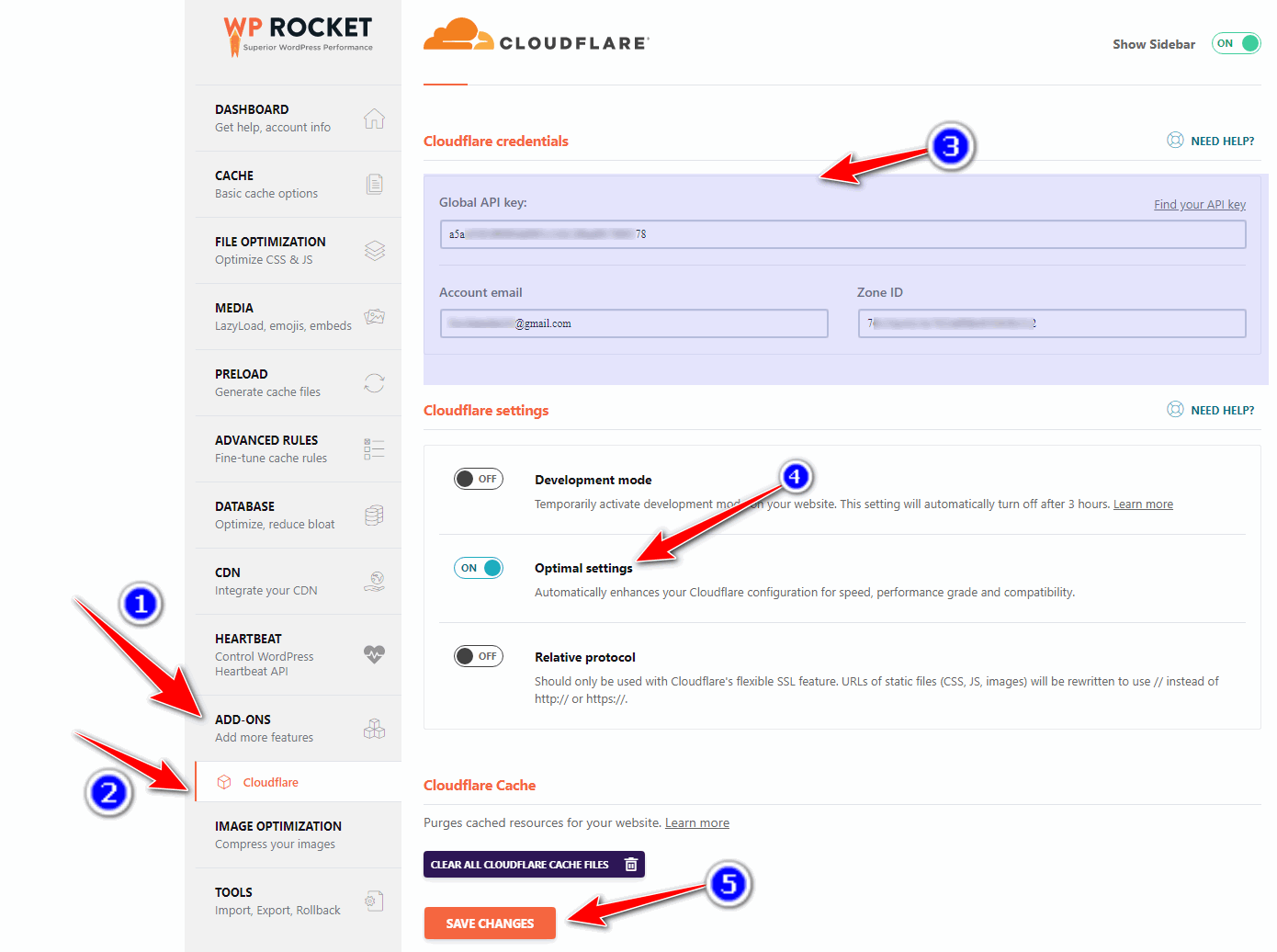 cloudflare credentials and configuration in wp rocket