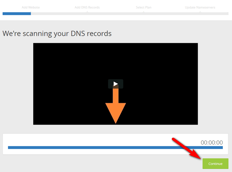 After DNS Scan click continue