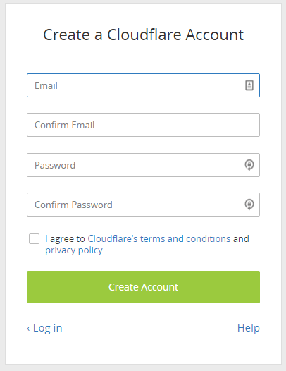 create a cloudflare account