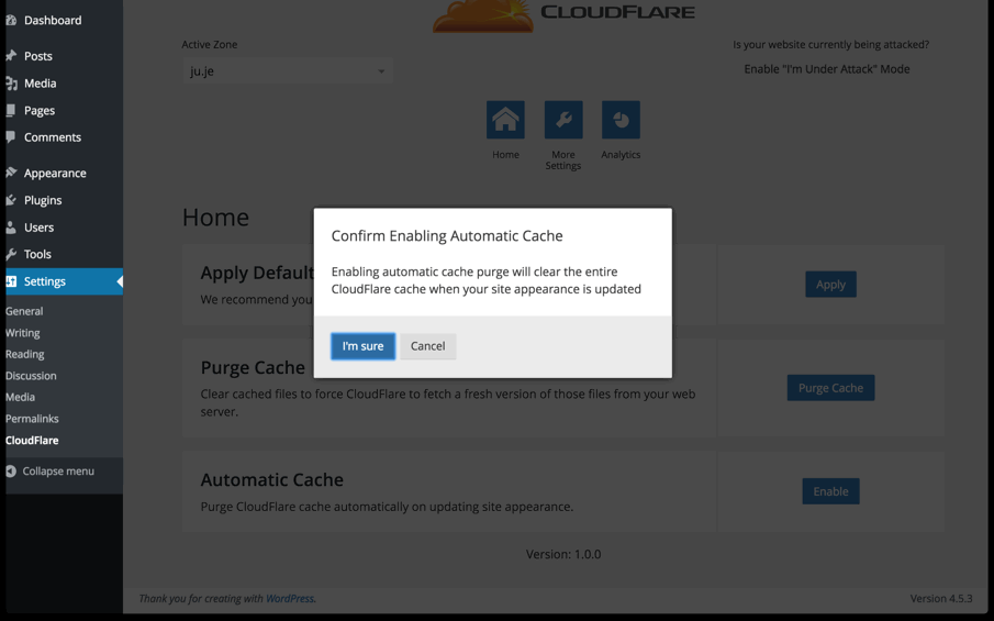 enable automatic cache