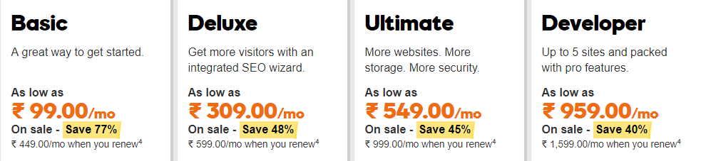 Godaddy pricing and plans