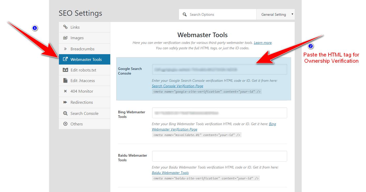 ownership verification in Rank math