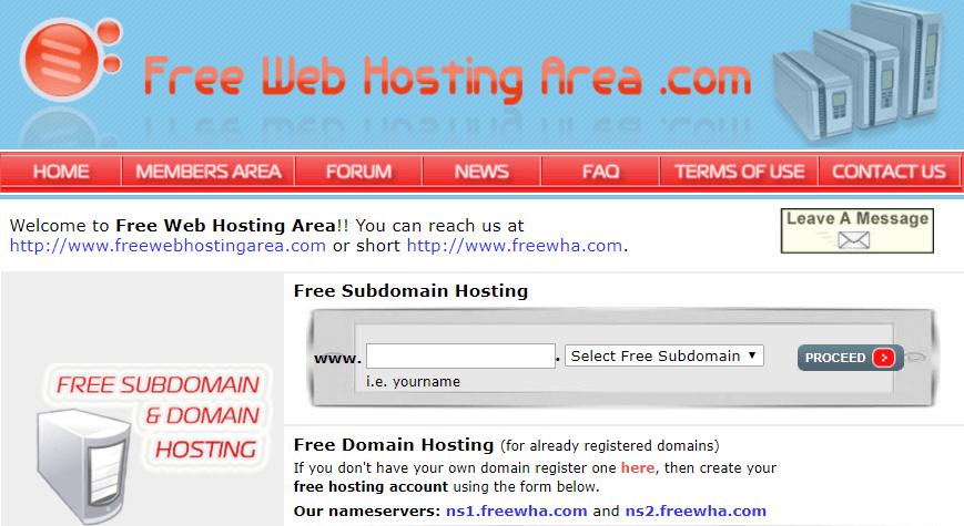 Freewebhostingarea web hosting