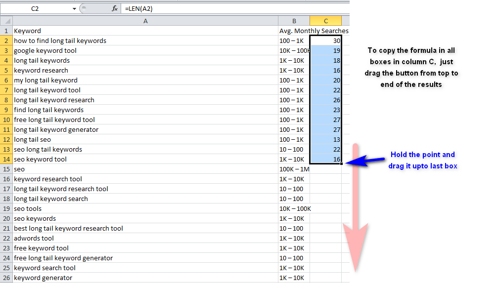 copy and paste in all boxes of column c Drag it