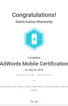 Adwords Mobile certificate