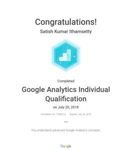 Google Analytics individual certificate