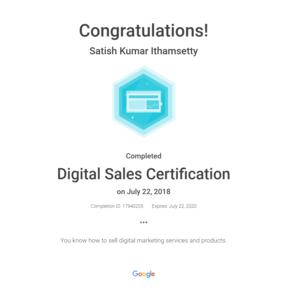 Google Digital sales certificate