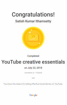 Youtube creative essentials certificate