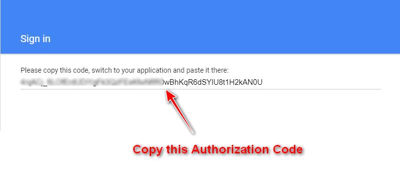 copy the authorization code