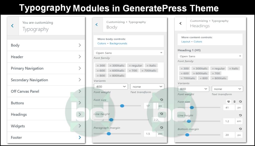 typography module in generatepress